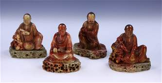 Four (4) Chinese Soapstone Carved Luoshan Figures