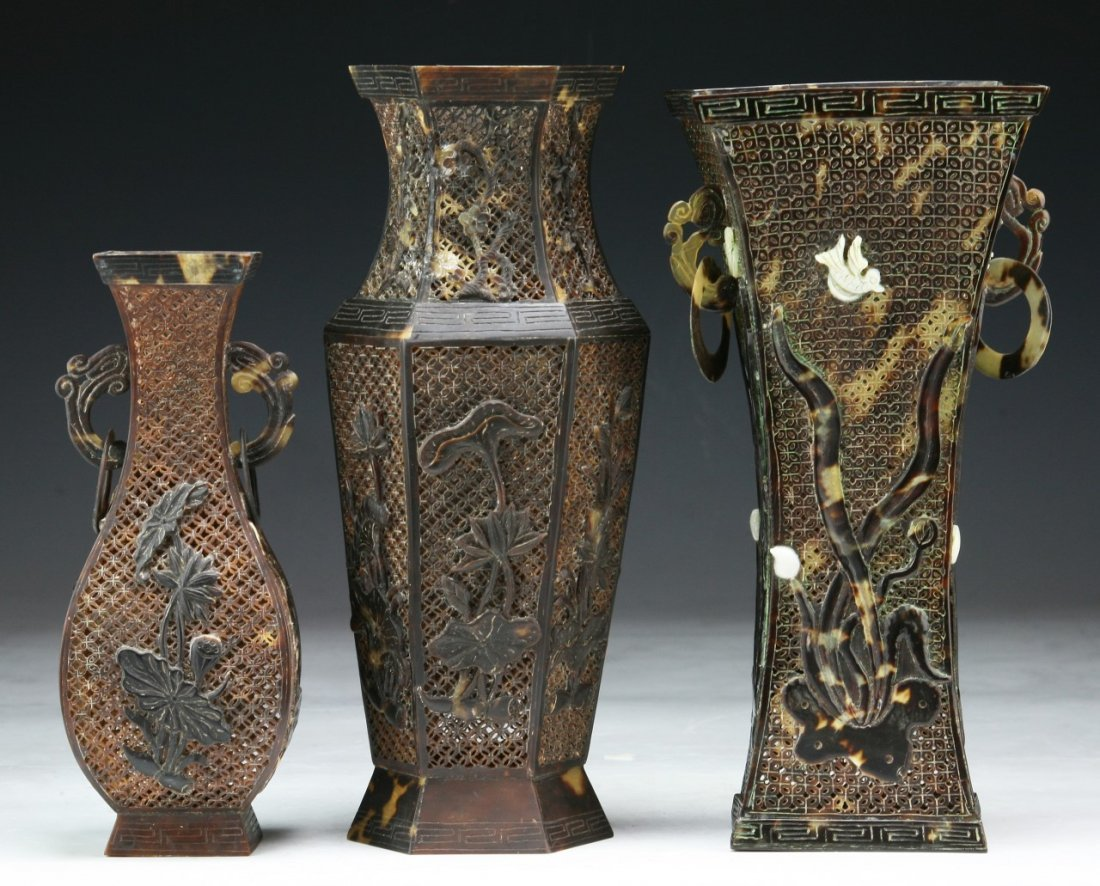 Three (3) Chinese Antique Tortoise-Shell Vases