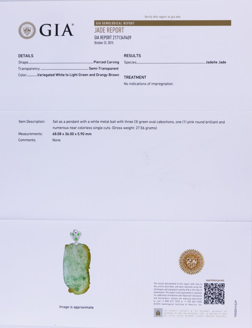 A Fine Jadeite Guanyin Pendant With Gia Certificate - 6