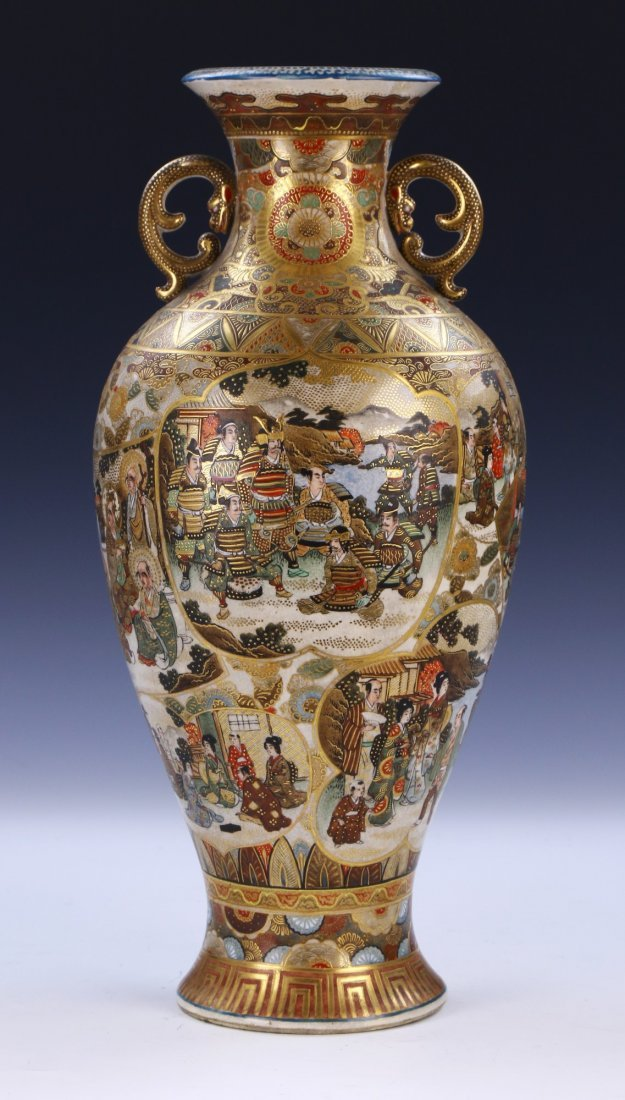 A Big Japanese Antique Satsuma Porcelain Vase