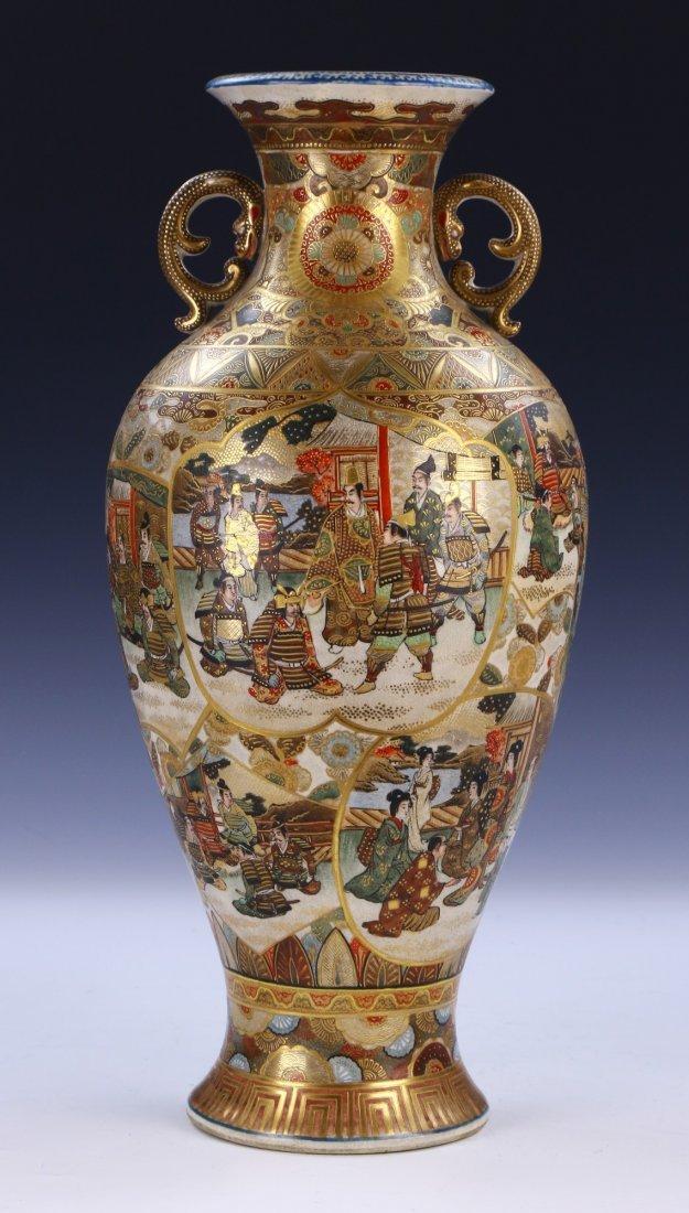 A Big Japanese Antique Satsuma Porcelain Vase - 2