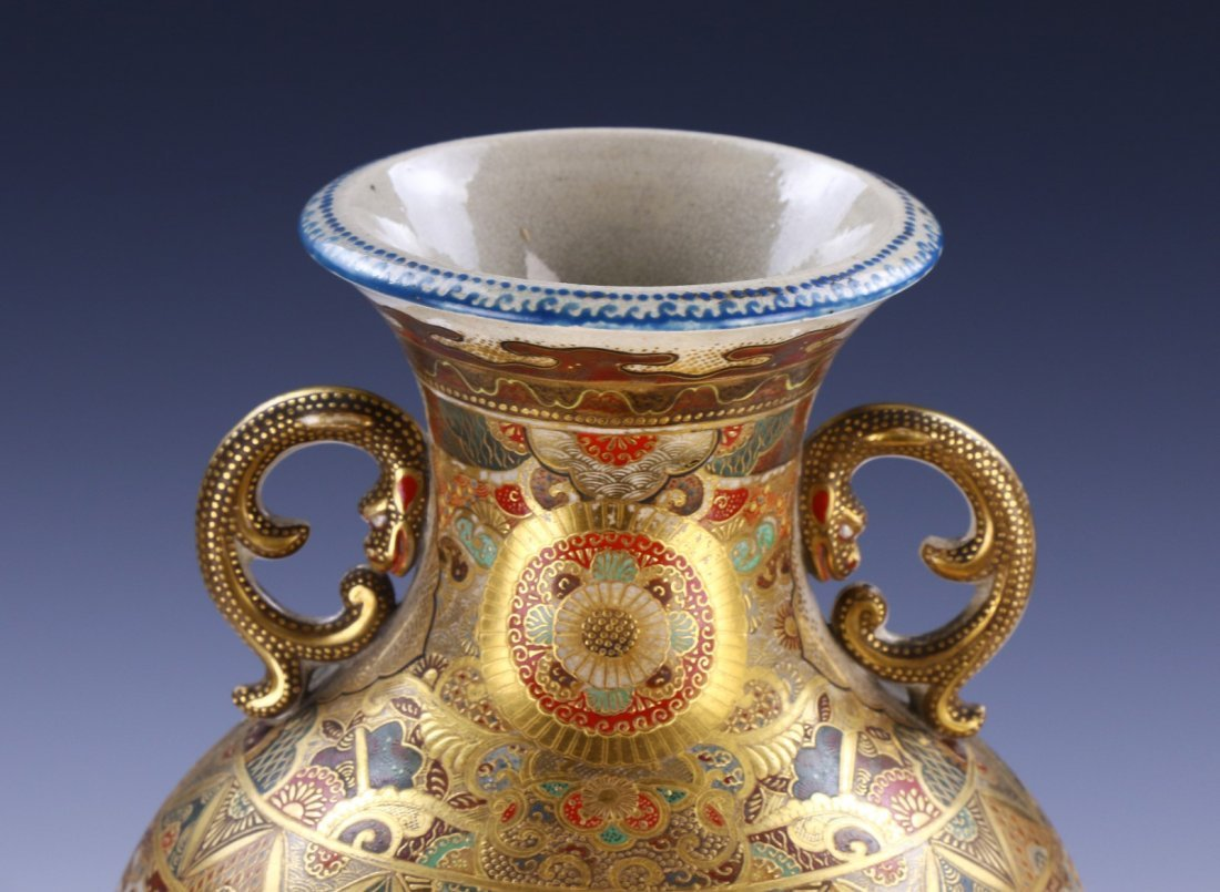 A Big Japanese Antique Satsuma Porcelain Vase - 3