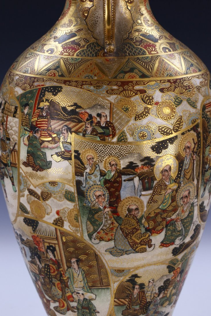 A Big Japanese Antique Satsuma Porcelain Vase - 4