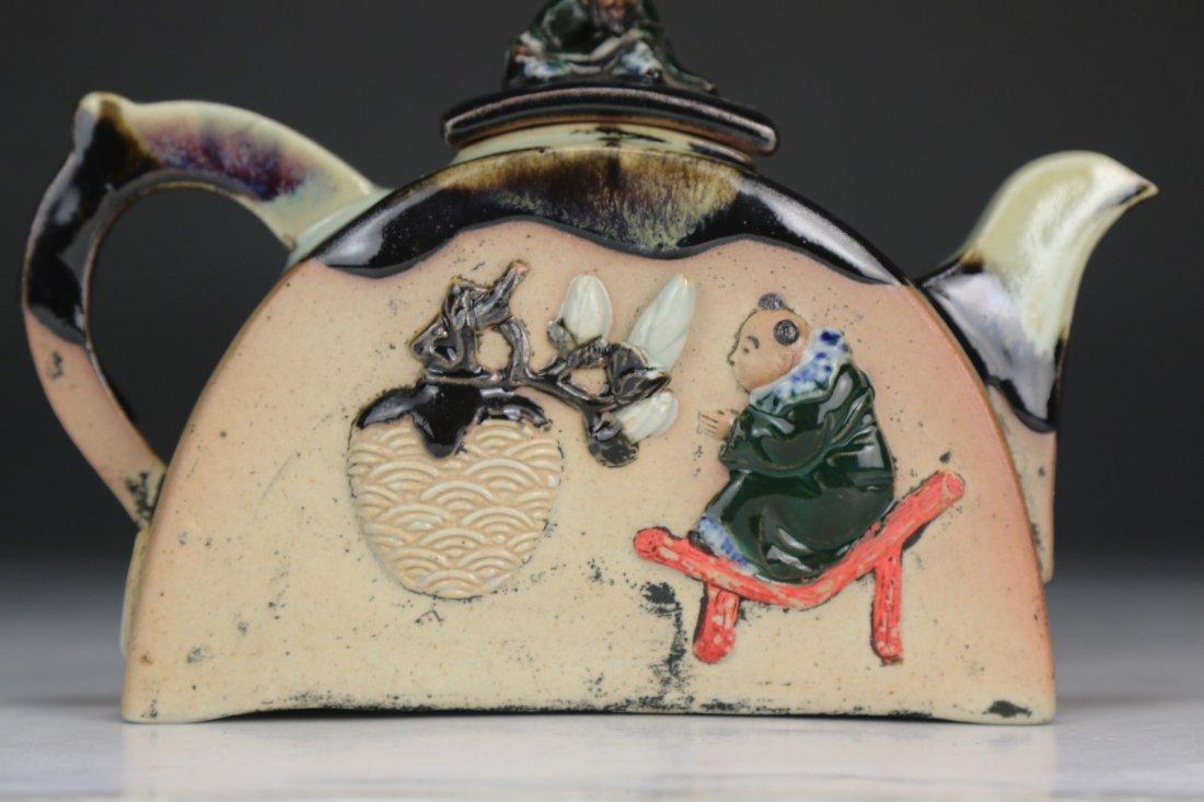 A Japanese Sumidagawa Porcelain Teapot - 2