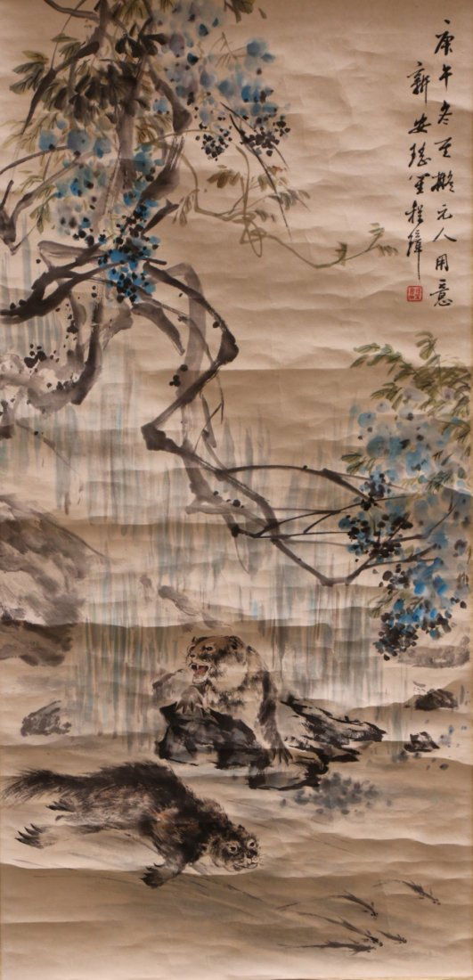 A Chinese Paper Hanging Painting Scroll By Chong Zhang