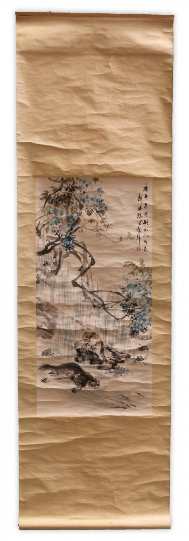 A Chinese Paper Hanging Painting Scroll By Chong Zhang - 4