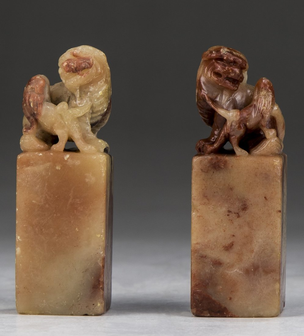 TWO (2) CHINESE SOAPSTONE CARVED SEALS