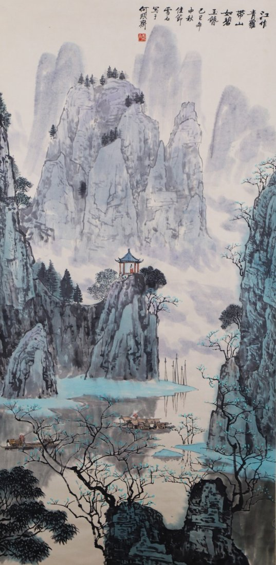 A Chinese Antique Paper Painting By Bai Xueshi