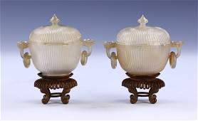PAIR CHINESE ANTIQUE AGATE CENSERS