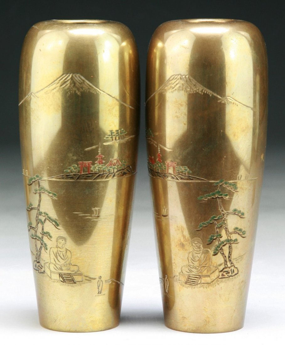 PAIR JAPANESE ANTIQUE BRASS VASES
