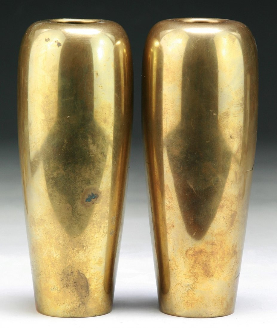 PAIR JAPANESE ANTIQUE BRASS VASES - 2