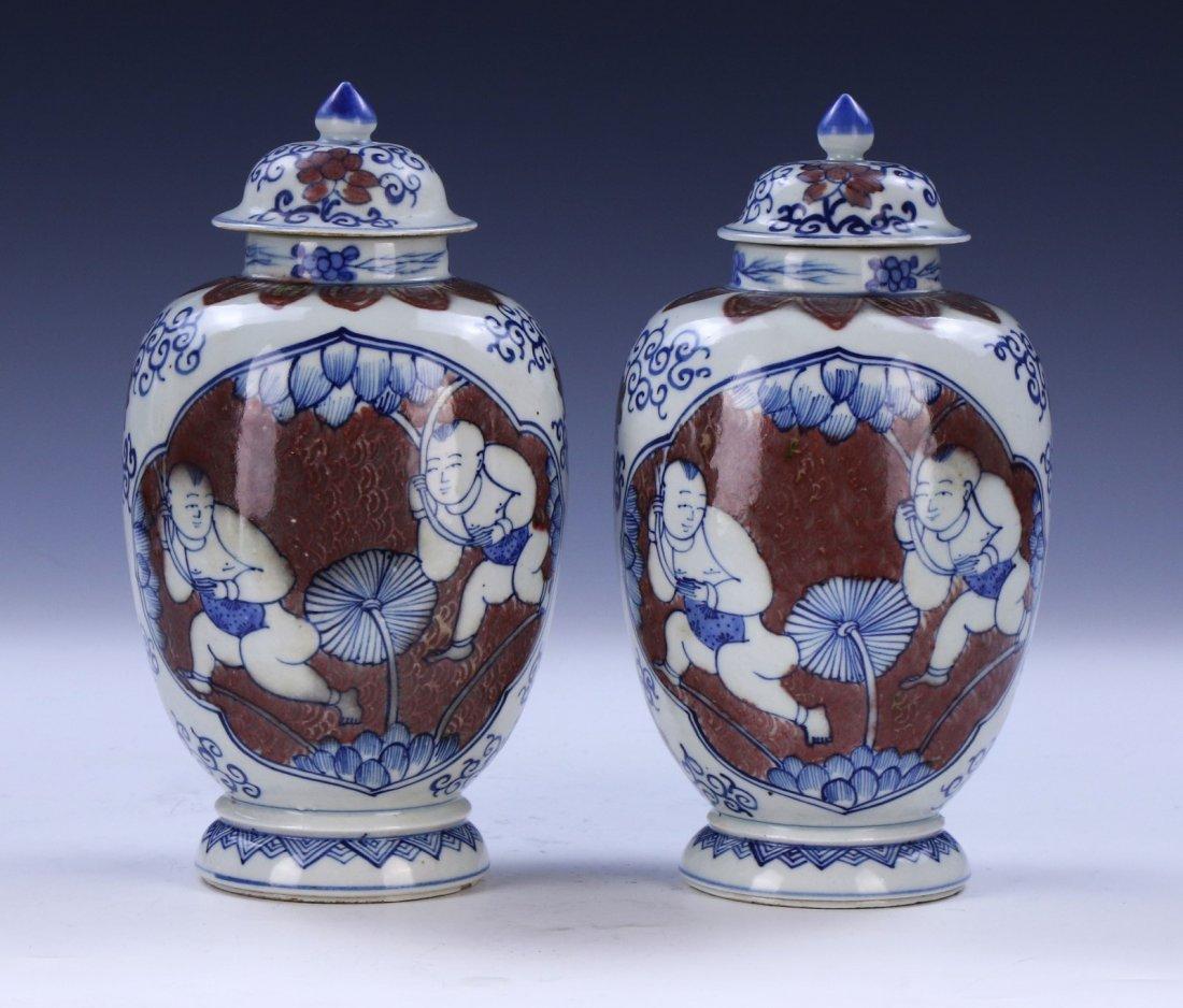 PAIR CHINESE ANTIQUE BLUE & WHITE UNDERGLAZED RED - 2