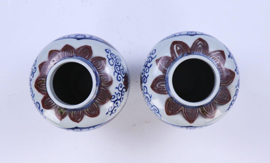 PAIR CHINESE ANTIQUE BLUE & WHITE UNDERGLAZED RED - 3