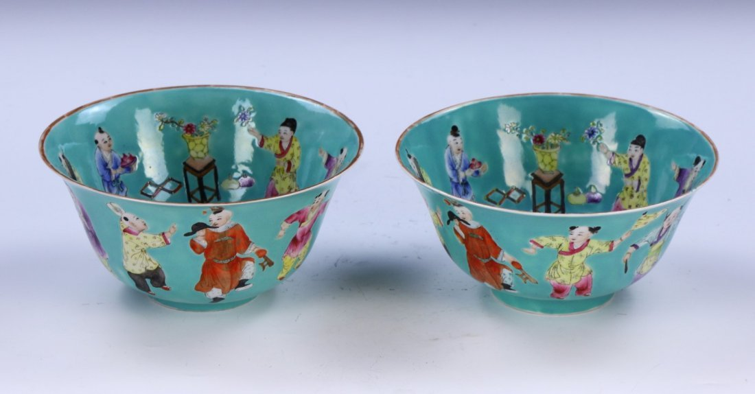 PAIR CHINESE ANTIQUE FAMILLE ROSE PORCELAIN BOWLS