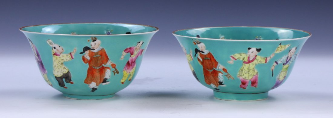 PAIR CHINESE ANTIQUE FAMILLE ROSE PORCELAIN BOWLS - 2