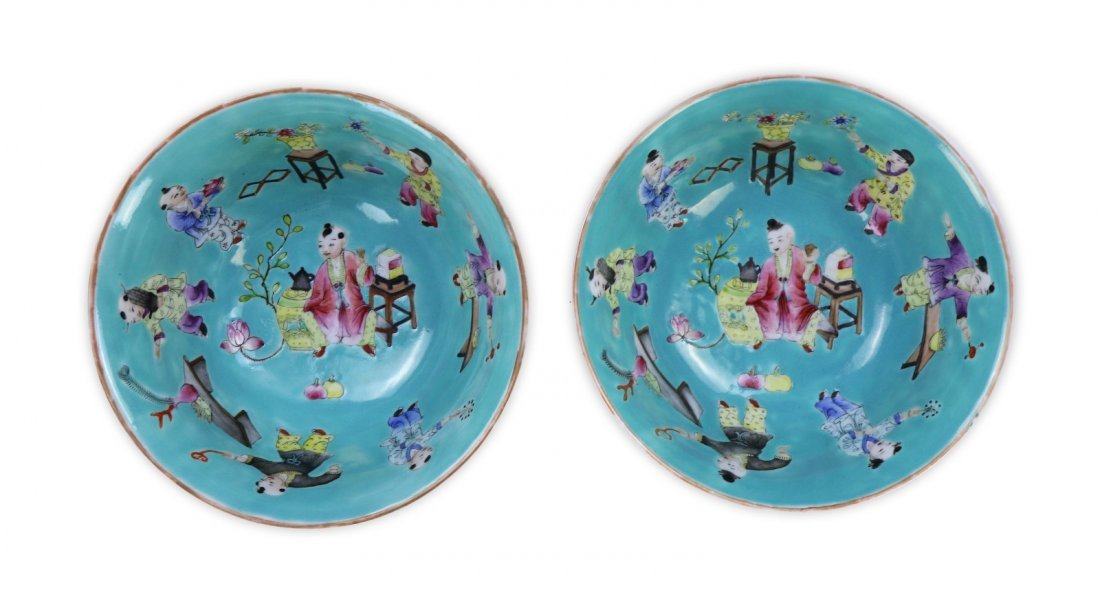 PAIR CHINESE ANTIQUE FAMILLE ROSE PORCELAIN BOWLS - 3