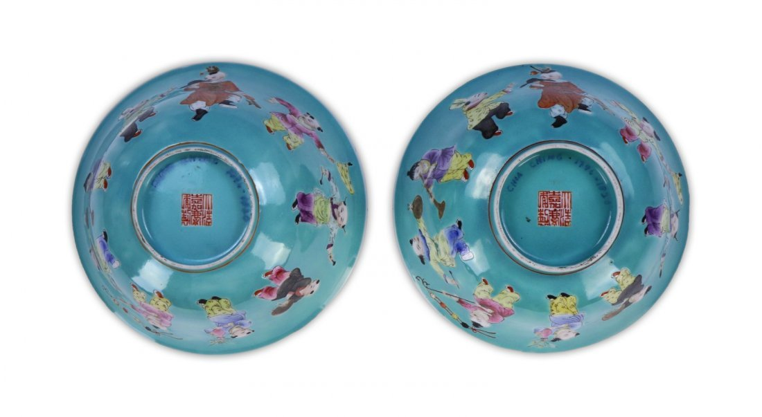 PAIR CHINESE ANTIQUE FAMILLE ROSE PORCELAIN BOWLS - 4