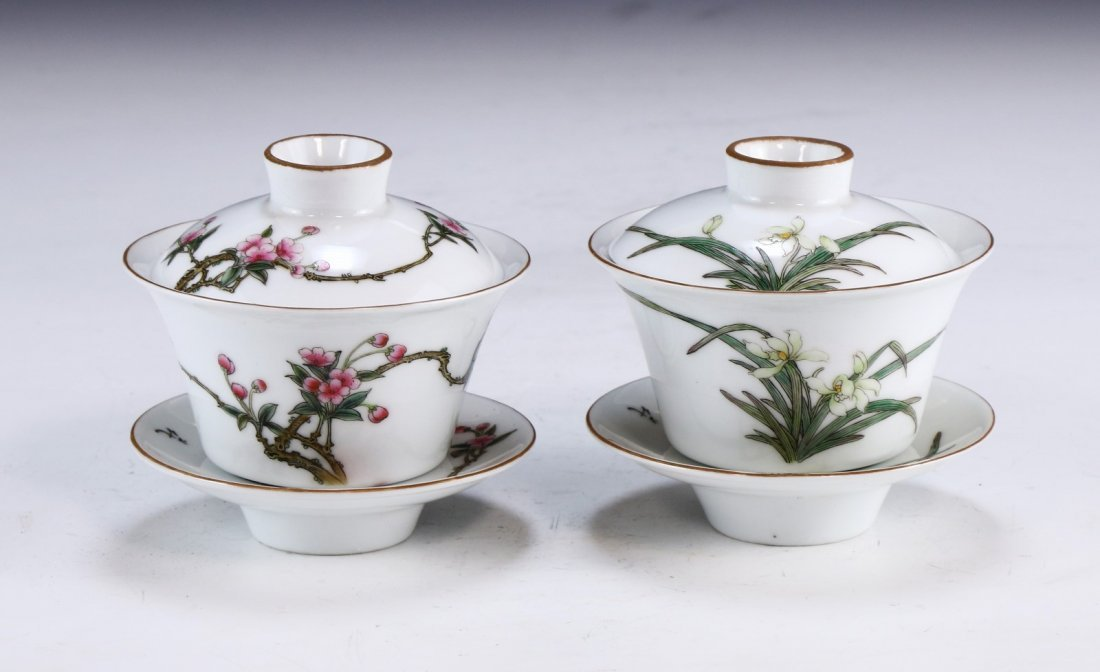 PAIR CHINESE ANTIQUE FAMILLE ROSE PORCELAIN TEA CUPS