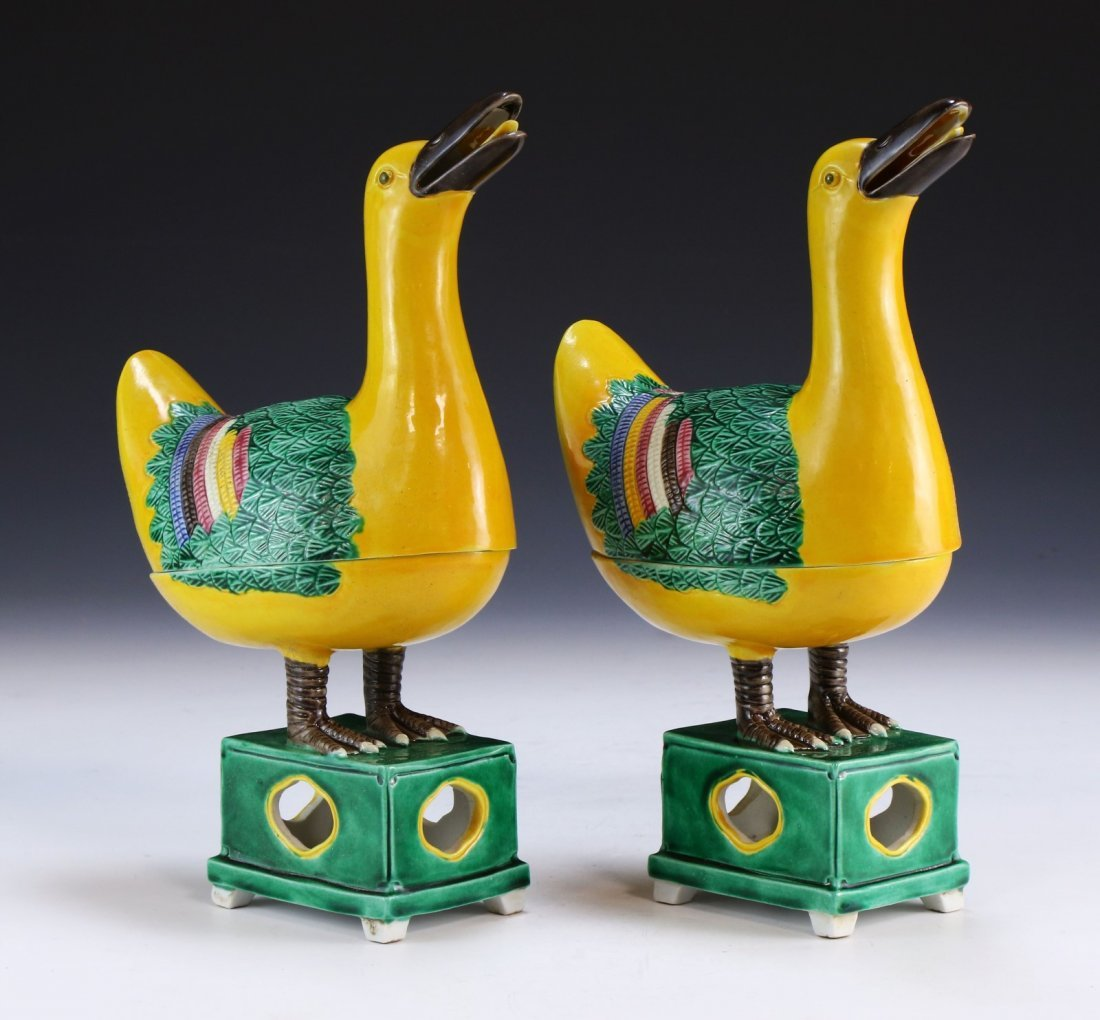 PAIR CHINESE ANTIQUE DUCK INCENSE BURNER AND COVER