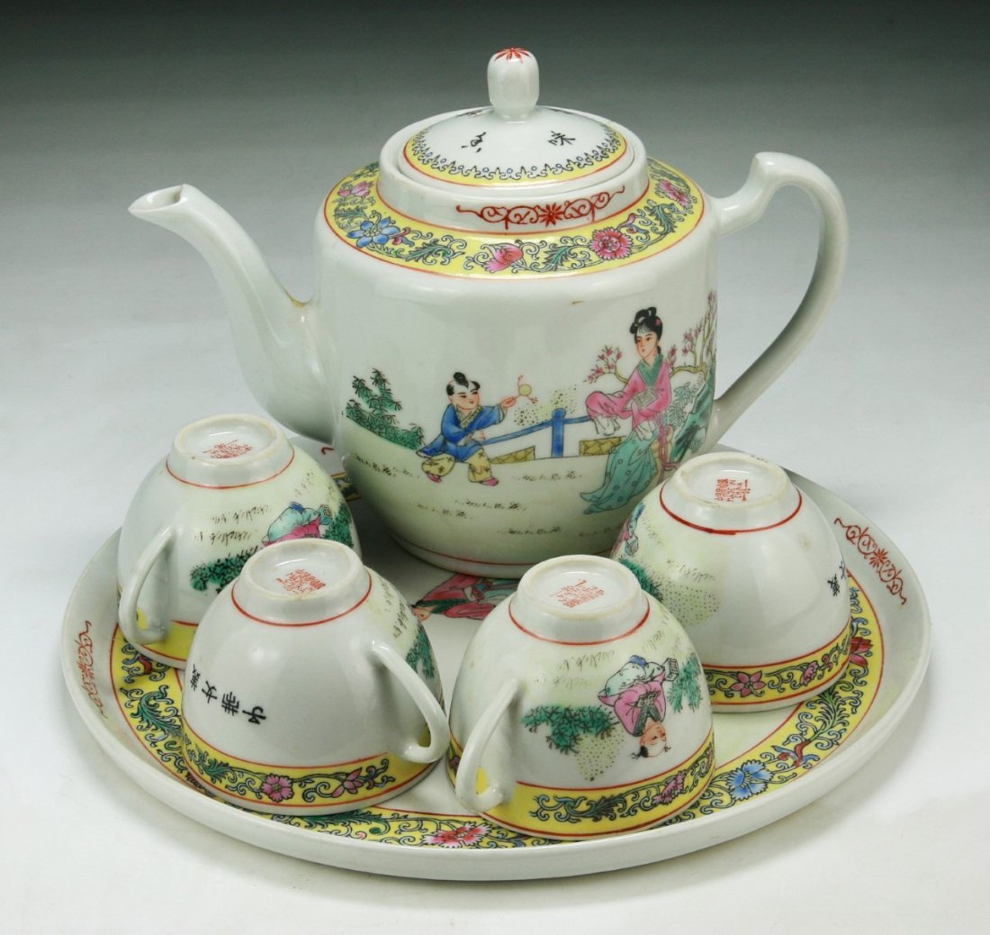 Six (6) Chinese Famille Rose Porcelain Tea Set & Plate