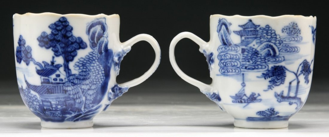 PAIR CHINESE ANTIQUE BLUE & WHITE PORCELAIN CUPS - 2