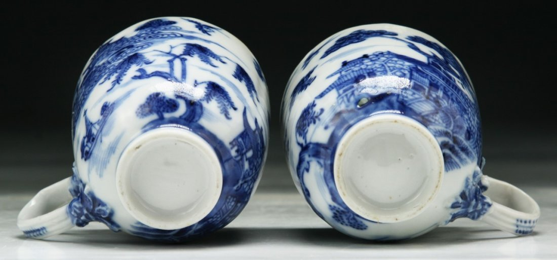 PAIR CHINESE ANTIQUE BLUE & WHITE PORCELAIN CUPS - 4