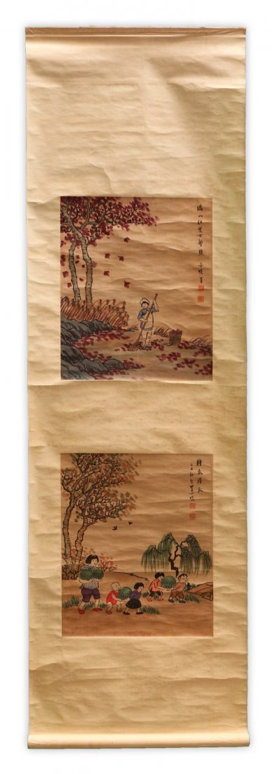 A Chinese Paper Hanging Painting Scroll By Feng Zikai - 5