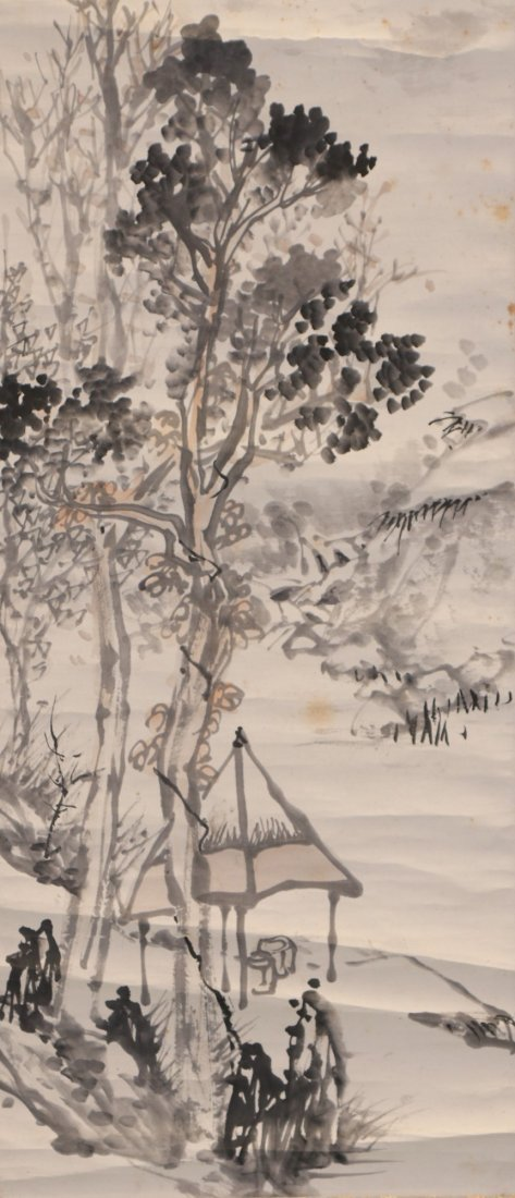 A CHINESE PAPER HANGING PAINTING SCROLL - 2