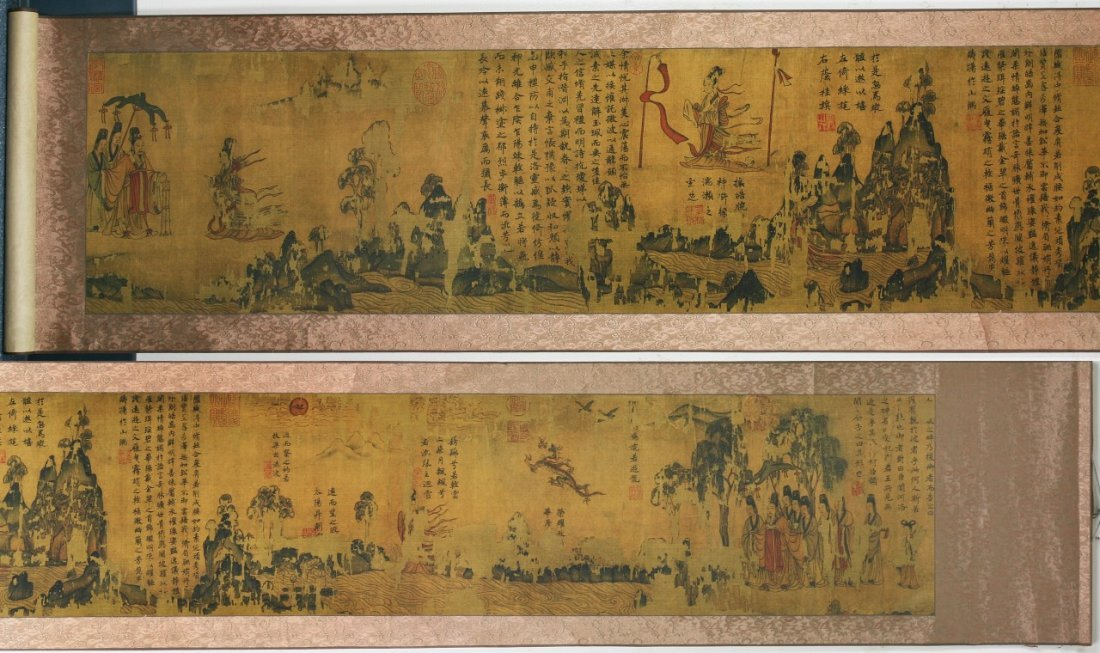 A FINE CHINESE ANTIQUE PAPER PAINTING HAND SCROLL
