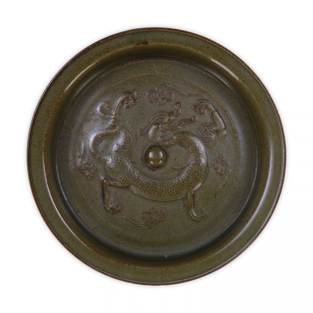 A CHINESE ANTIQUE CELADON GLAZED PORCELAIN TRIPOD PLATE - 4