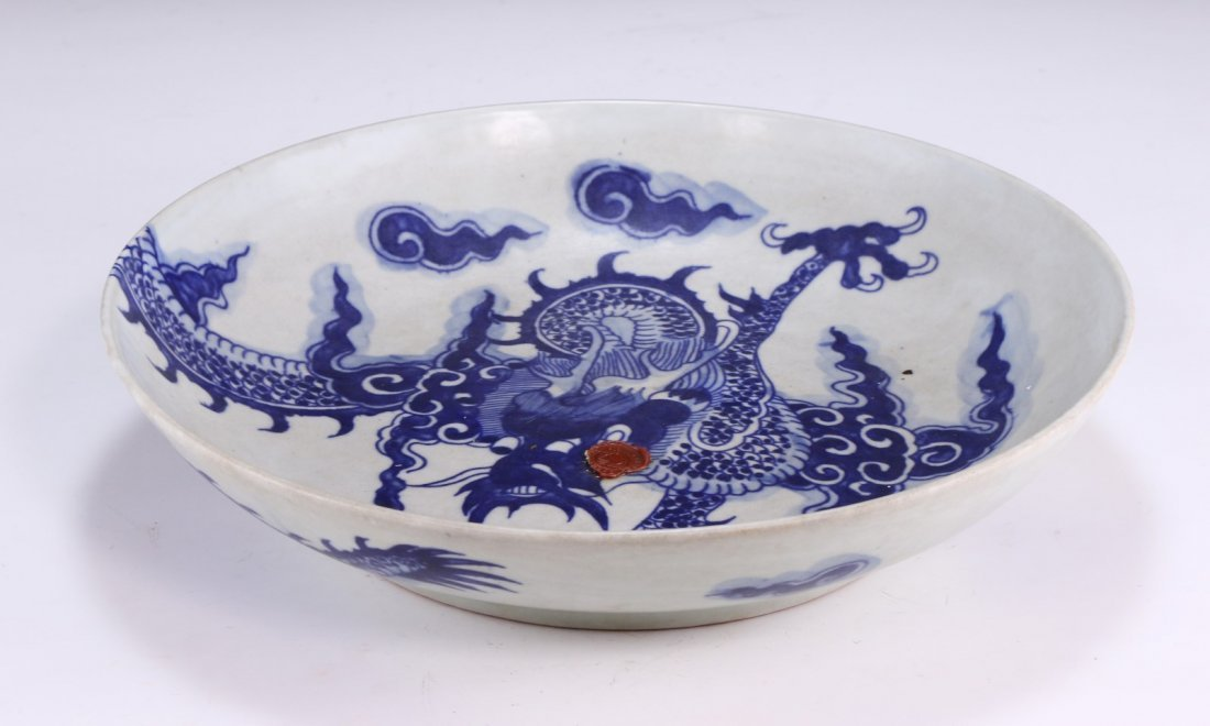 A Big Chinese Antique Blue & White Porcelain Plate