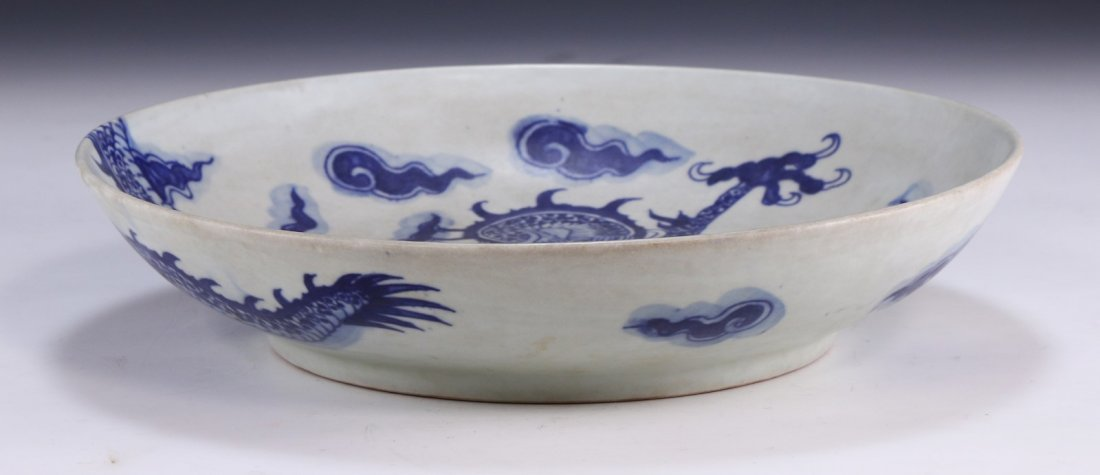 A Big Chinese Antique Blue & White Porcelain Plate - 2