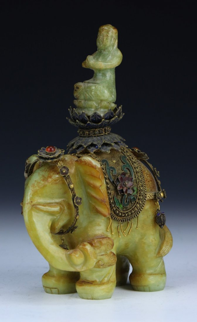 A Chinese Antique Jade & Cloisonne On Silver Figure