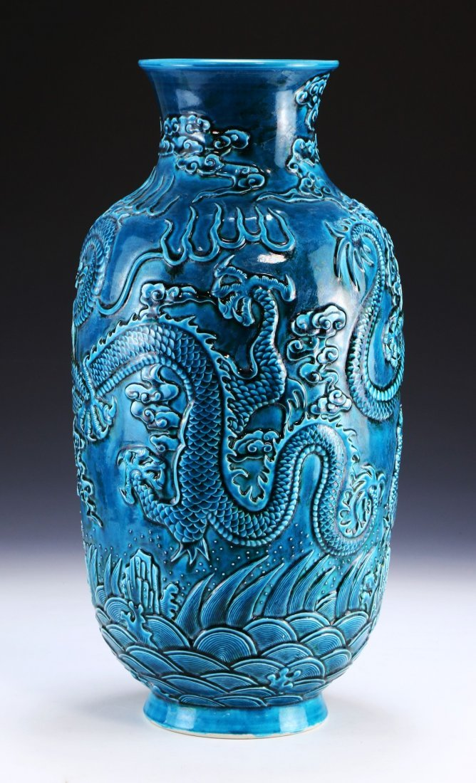 A CHINESE ANTIQUE BLUE GLAZED PORCELAIN VASE - 2