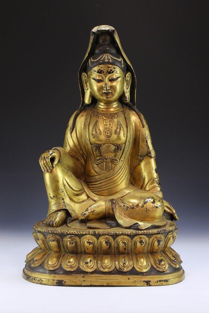 A MASSIVE CHINESE ANTIQUE GILT BRONZE BUDDHA