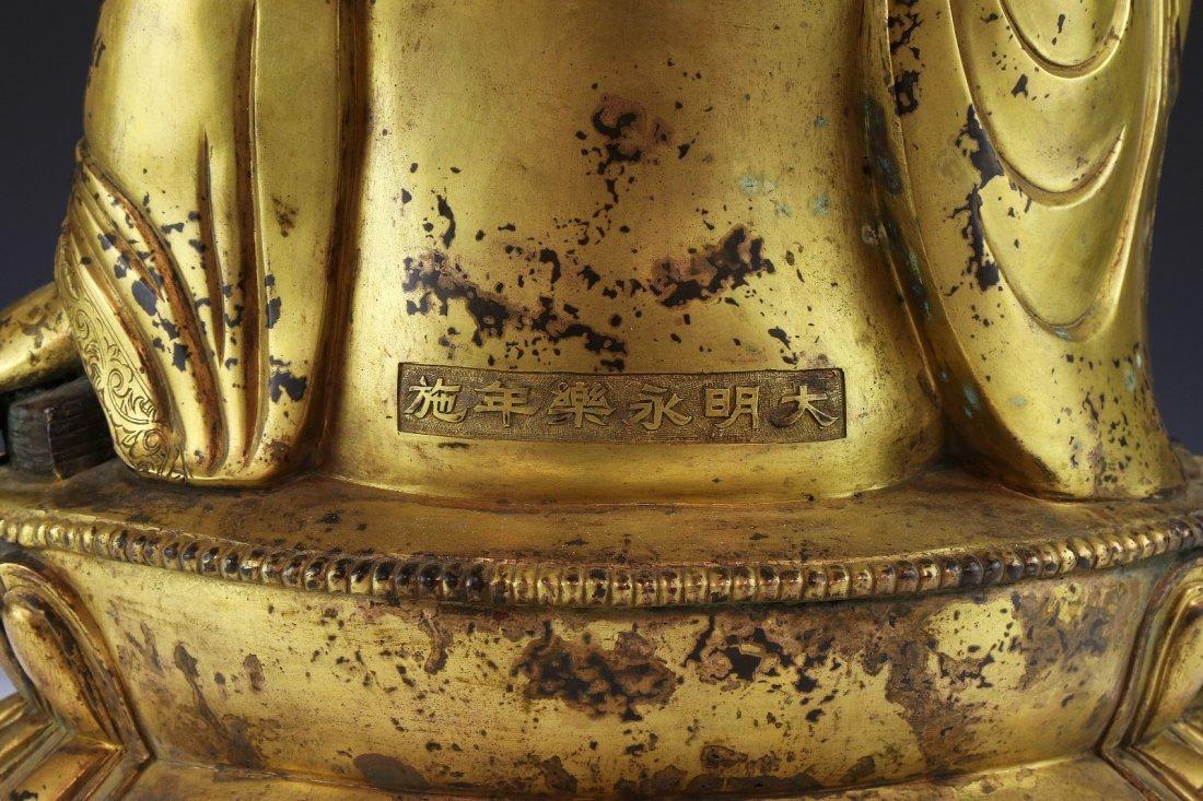 A MASSIVE CHINESE ANTIQUE GILT BRONZE BUDDHA - 4
