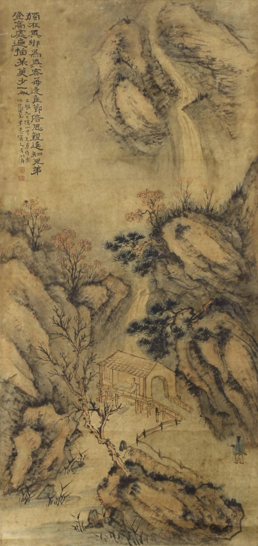 A Chinese Antique Paper Painting Scroll By Shi, Tao