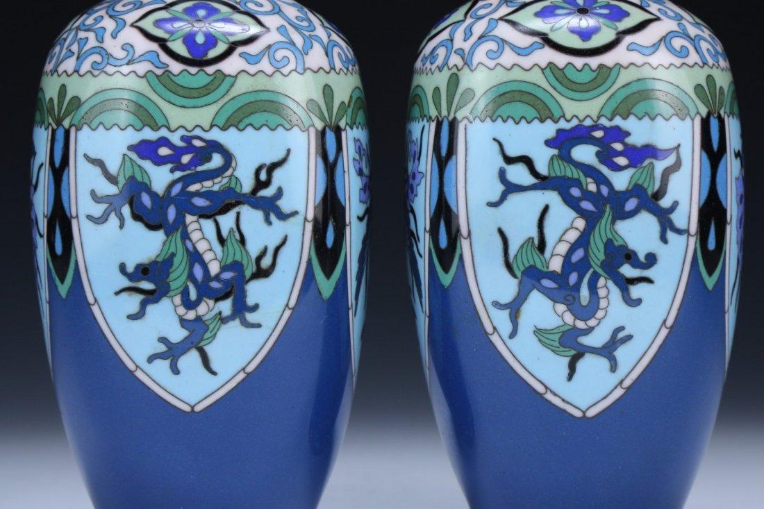 Pair Japanese Antique Cloisonne Vases - 2