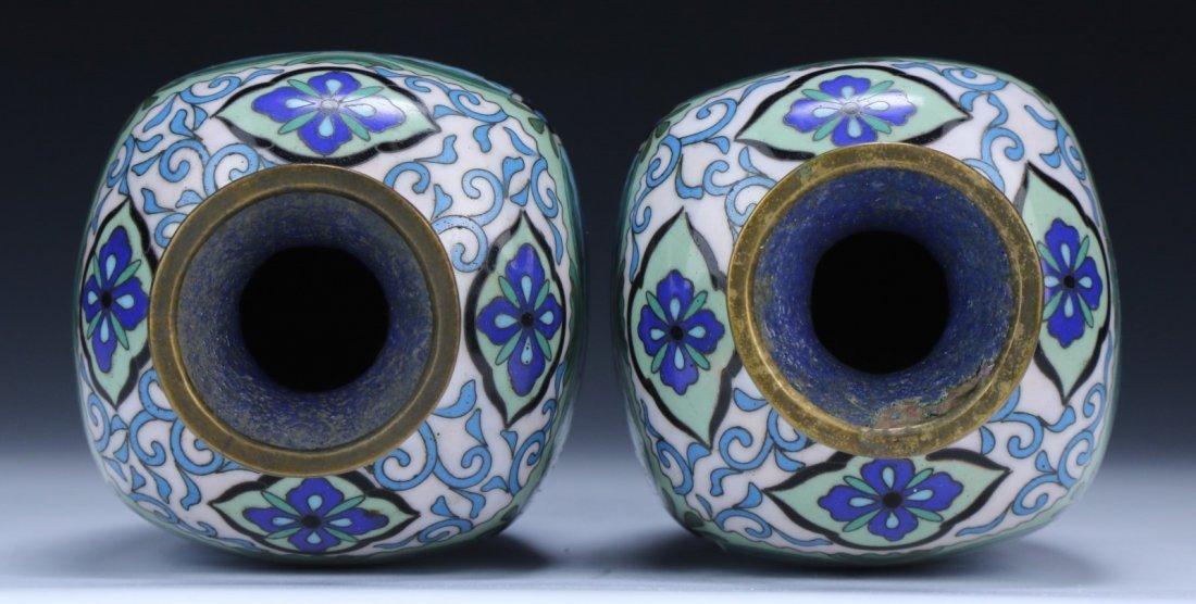 Pair Japanese Antique Cloisonne Vases - 3