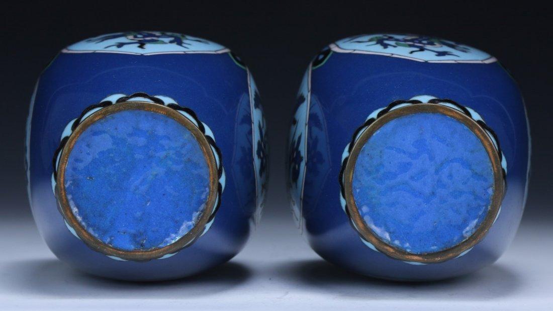 Pair Japanese Antique Cloisonne Vases - 4