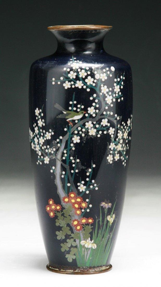 A Japanese Antique Silver Ando Cloisonne Vase