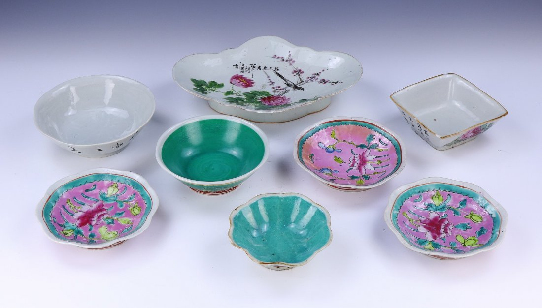 A Chinese Antique Set Of Eight (8) Porcelain Plates &