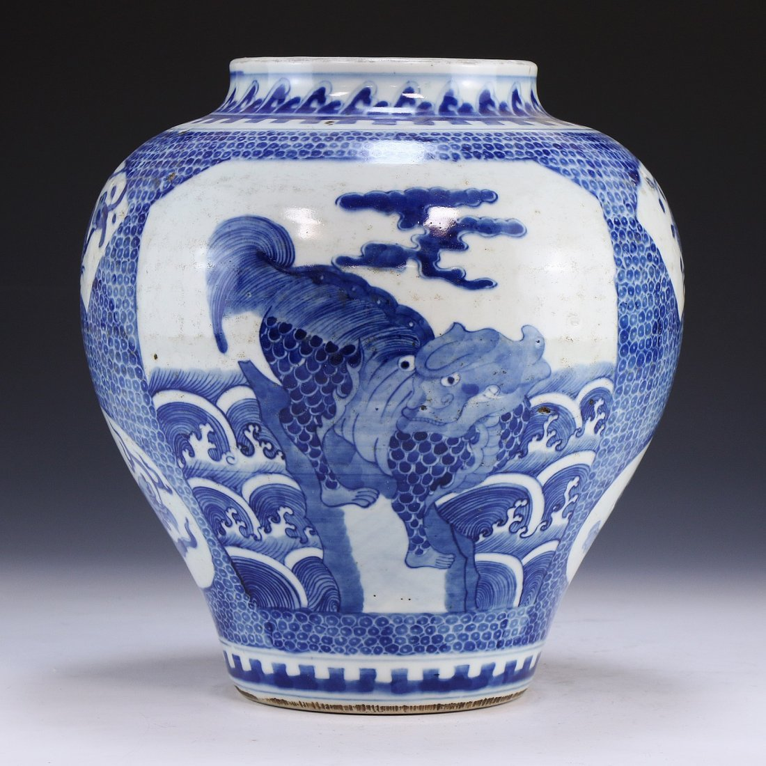A CHINESE ANTIQUE BLUE & WHITE PORCELAIN VASE - 3