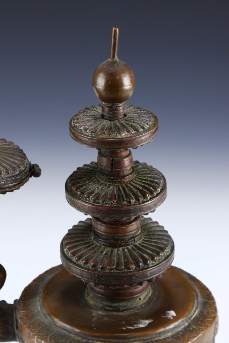 A TIBETAN SILVERED CANDLE HOLDER - 4