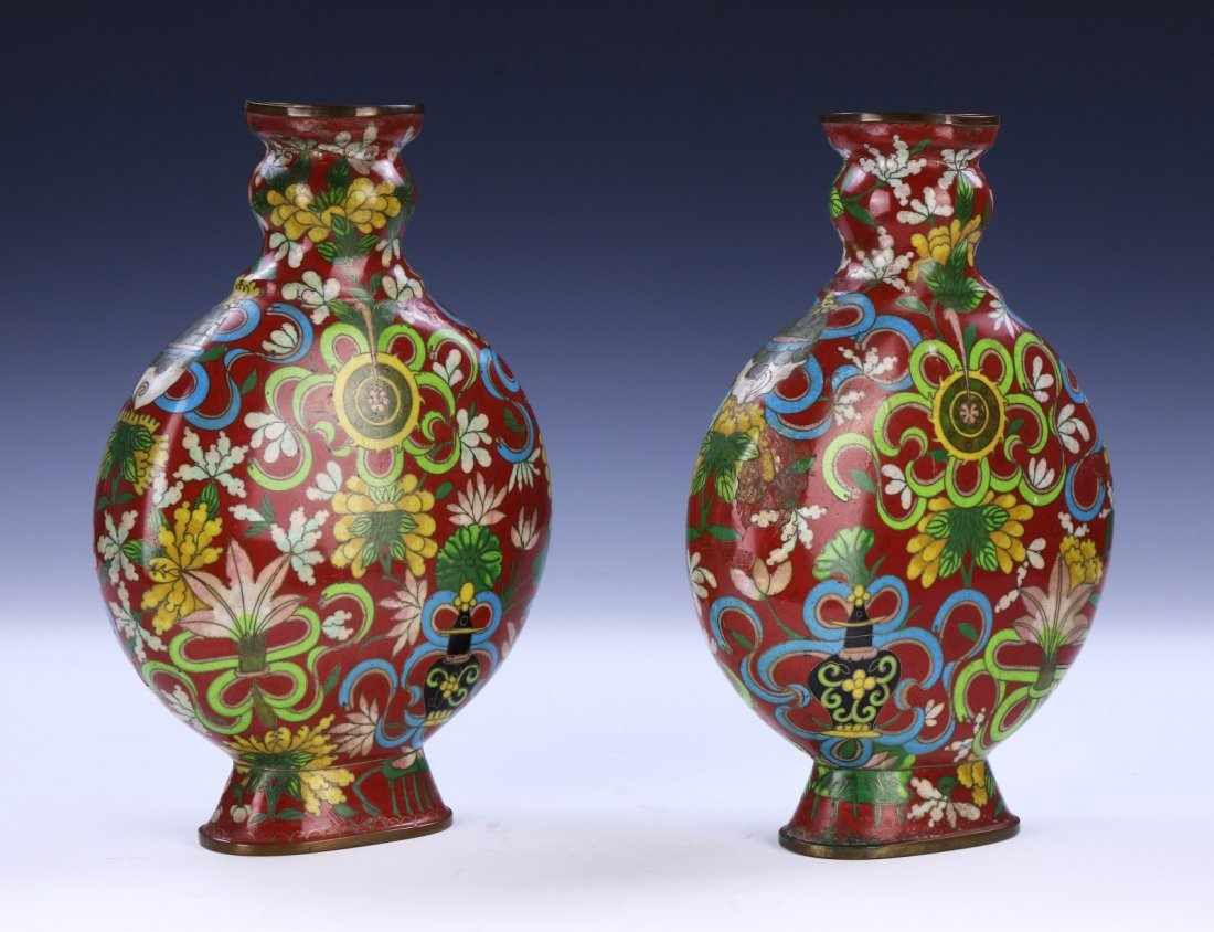 Pair Chinese Antique Cloisonne Vases