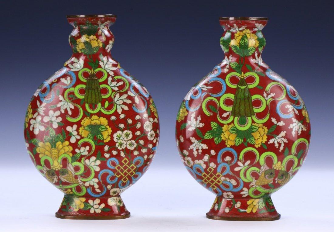Pair Chinese Antique Cloisonne Vases - 3