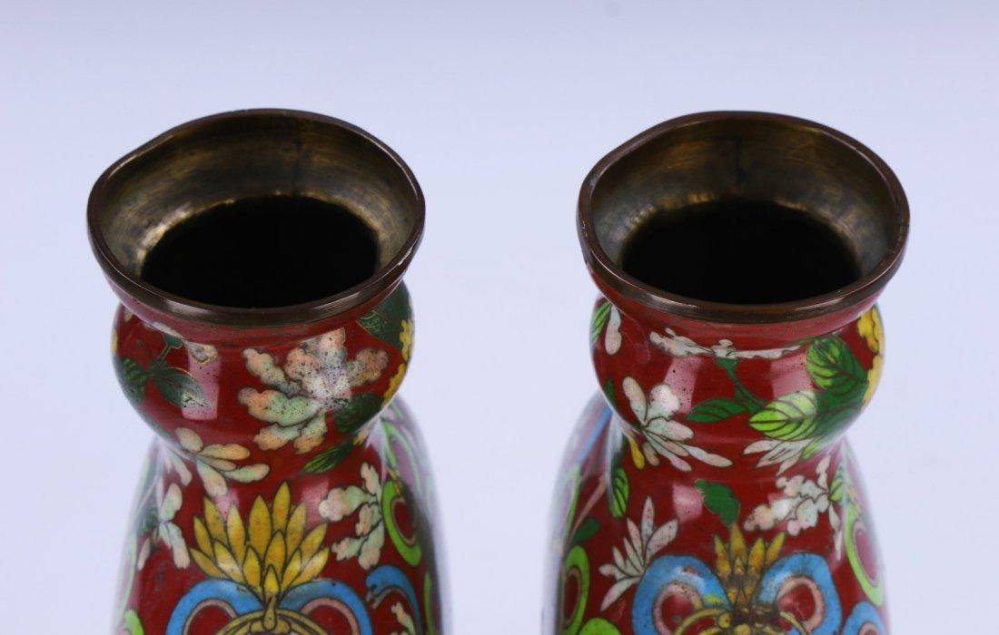 Pair Chinese Antique Cloisonne Vases - 4