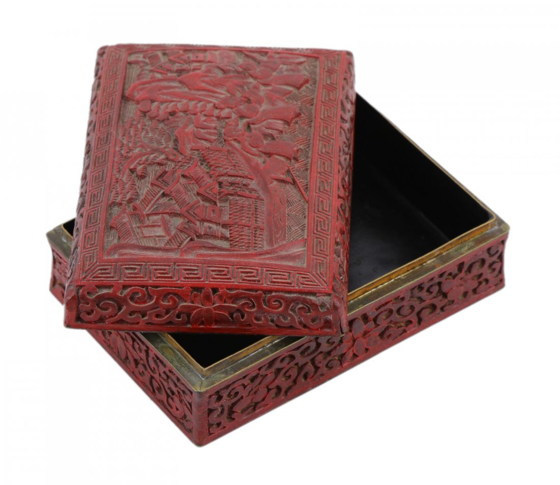 A Chinese Antique Red Cinnabar Lacquer Lidded Case - 2