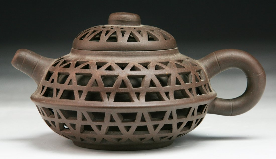 A Chinese Yixing Zisha Teapot With Cover