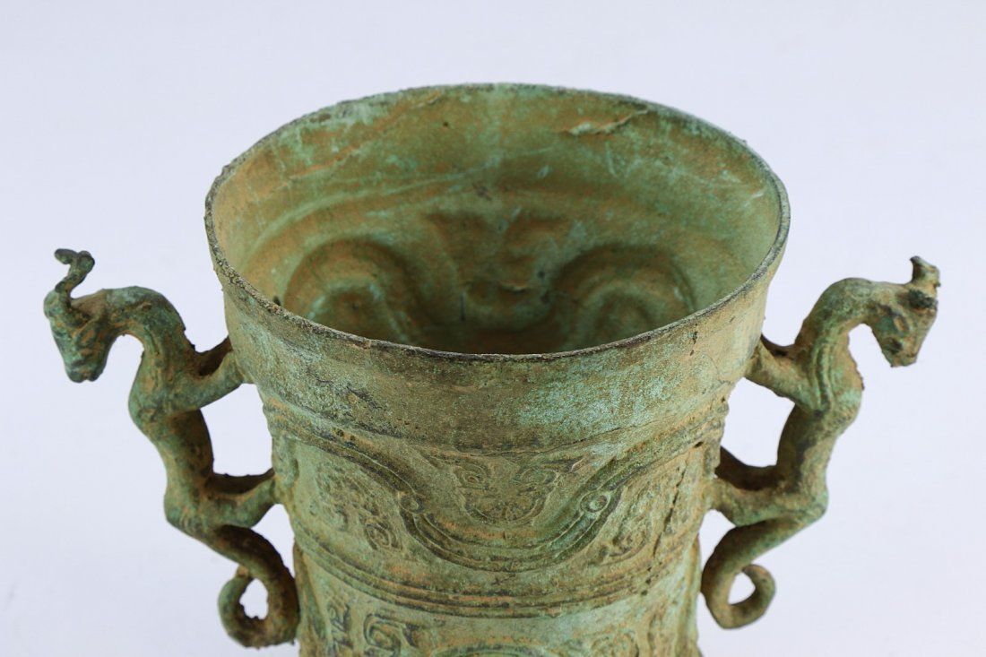 A CHINESE ANTIQUE LIDDED BRONZE VASE - 4